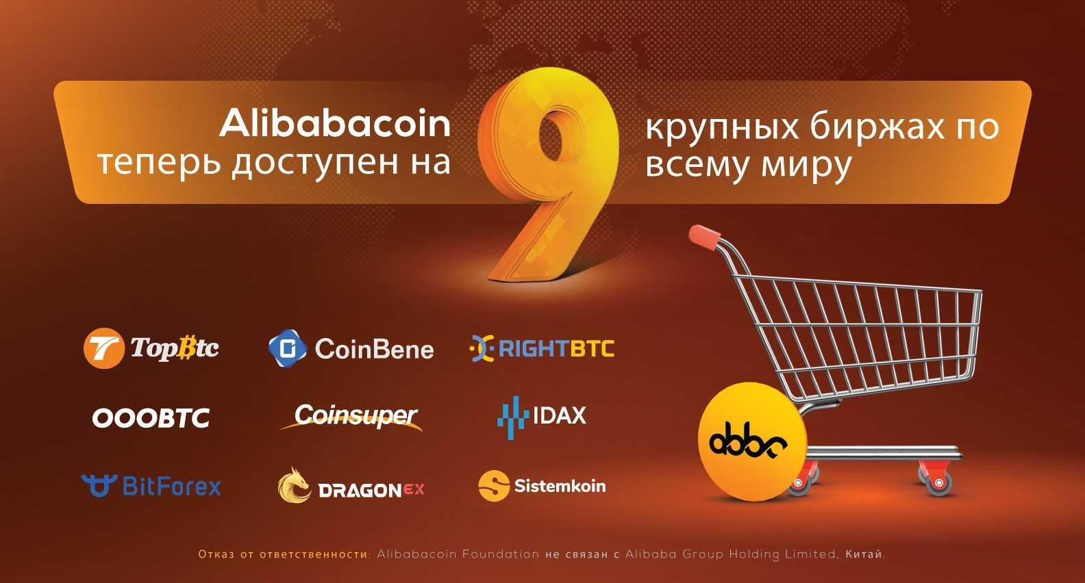 Alibabacoin добавлен в листинг 9 крупных бирж по всему миру